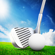 Ball Field Posters - Ball on tee a golf club Poster by Michal Bednarek