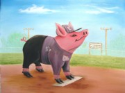Baseball Painting Framed Prints - Ball Pig with Attitude Framed Print by Bobby Perkins