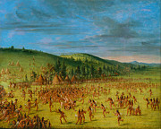 Famous Artists - Ball-play of the Choctaw--Ball Up by George Catlin