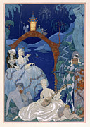 Lute Metal Prints - Ball Under the Blue Moon Metal Print by Georges Barbier