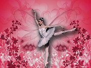 Ballerinas Digital Art Prints - Ballerina Butterfly Print by Dina Raouf