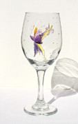 Painted Wine Glass Glass Art - Ballerina Fairy by Pauline Ross