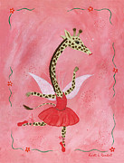 Shower Gift Paintings - Ballerina Giraffe Girls Room Art by Kristi L Randall Brooklyn Alien Art
