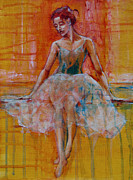 Ballet Dancers Paintings - Ballerina In Repose by Jani Freimann