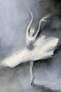 Ballet Dancers Painting Prints - Ballerina in White Tutu Watercolor Painting Print by Beverly Brown Prints
