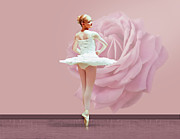 Dance Ballet Roses Prints - Ballerina in White with Pink Rose  Print by Delores Knowles