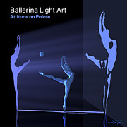 3d Modeling Framed Prints - Ballerina Light Art - Blue Framed Print by Andre Price