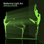 3d Modeling Framed Prints - Ballerina Light Art - Green Framed Print by Andre Price