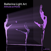 3d Modeling Framed Prints - Ballerina Light Art - Purple Framed Print by Andre Price