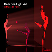 3d Modeling Framed Prints - Ballerina Light Art - Red Framed Print by Andre Price