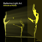 3d Modeling Framed Prints - Ballerina Light Art - Yellow Framed Print by Andre Price