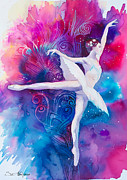 Dance Mixed Media Metal Prints - Ballerina Metal Print by Lyubomir Kanelov