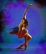 Ballet Art Digital Art Prints - Ballerina On Point Print by Byron Fli Walker