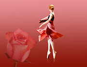 Dance Ballet Roses  Posters - Ballerina On Pointe with Red Rose  Poster by Delores Knowles