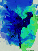 Ballerina On Stage Watercolor 2 Print by Irina  March