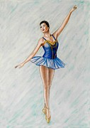 Ballet Dancers Painting Framed Prints - Ballerina Portrait Painting  Framed Print by Luigi Carlo