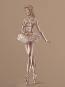 En Pointe Framed Prints - Ballerina Sketch Framed Print by Paul Fleet