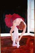 Dance Shoes Prints - Ballerina tying shoes Print by Nancy Beckerdite