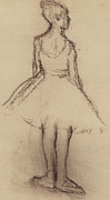 Dancing Girl Drawings Prints - Ballerina viewed from the back  Print by Edgar Degas