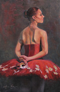 Masquerade Prints - Ballerina with Mask Print by Anna Bain