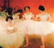 Ballet Dancers Painting Framed Prints - Ballerinas Resting Framed Print by Pg Reproductions