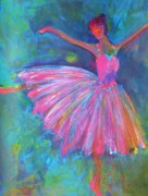 Blue And Pink Dance Paintings - Ballet Bliss by Deb Magelssen
