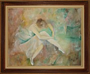 Ballet Dancers Painting Framed Prints - Ballet dancers Framed Print by Ri Mo