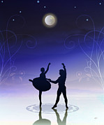 Ballet Art Prints - Ballet In Moonlight Print by Bedros Awak