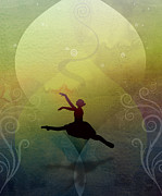 Lime Green Mixed Media Posters - Ballet In Solitude - Color Verde Poster by Bedros Awak