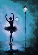 Ballerina Art Paintings - Ballet in the Night  by Corporate Art Task Force