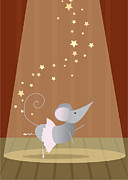 Yellow Brown Posters - Ballet Mouse Nursery Art Girl Poster by Christy Beckwith