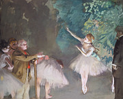 Featured Pastels Framed Prints - Ballet rehearsal Framed Print by Edgar Degas