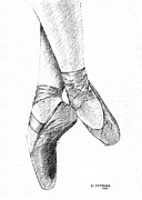 Ballet Dancers Drawings - Ballet Shoes by Al Intindola