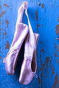 Ribbon Posters - Ballet shoes on blue wall Poster by Garry Gay