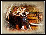 Ballerinas Digital Art Prints - Ballet Students Mirror Reflections I Print by Ellen Cannon