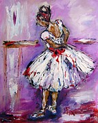 Dancing Girl Paintings - Ballet time by Mary Cahalan Lee