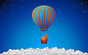 Orange Sky Posters - Balloon Elephant Poster by Sanely Great