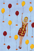 Red Balloons Prints - Balloon Girl Print by Christy Beckwith