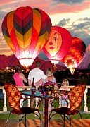 Wine Country Digital Art Prints - Balloon Glow at Twilight Print by Ronald Chambers