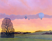 Rural Landscape Prints - Balloon Race Print by Ann Brian