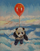 Party Birthday Party Paintings - Balloon Ride by Michael Creese