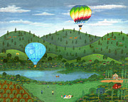 Water Sports Art Print Paintings - Ballooning 8 by Linda Mears