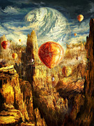 Oil Like Digital Art Metal Prints - Ballooning Through the Cosmic Chasm Metal Print by Ernest Tang