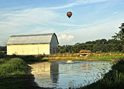 Drifting Posters - Balloons And Barns Poster by Lara Ellis