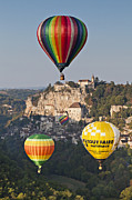 Hot Air Balloons Framed Prints - Balloons at Rocamadour Midi Pyrenees France Framed Print by Colin and Linda McKie