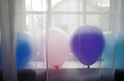 Sheers Posters - Balloons in the windowsill Poster by Marlene Ford
