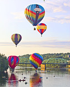 Great Falls Balloon Festival Framed Prints - Balloons on the Androscoggin  Framed Print by Kim Leighton