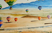Balloon Drawings - Balloons over Albuquerque by Jim Brooksher