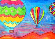 Balloon Fiesta Paintings - Balloons Over New Mexico 1 by Karen Kaster