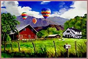 Shed Digital Art Metal Prints - Balloons Over the Ranch Metal Print by Ronald Chambers